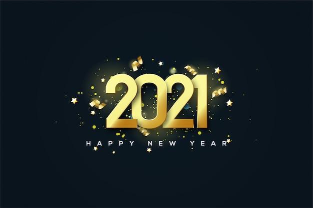 2021 gelukkig nieuwjaar achtergrond met gouden cijfers versierd met gouden lintstukken.