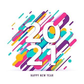 2021 gelukkig nieuwjaar achtergrond met grote cijfers en abstracte lijnen