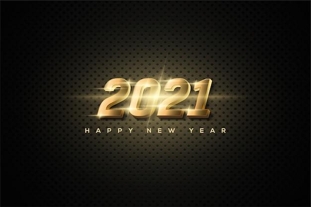 2021 gelukkig nieuwjaar achtergrond met heldere gouden lichtgevende cijfers.