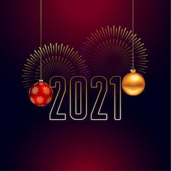 2021 gelukkig nieuwjaar achtergrond met kerst bal