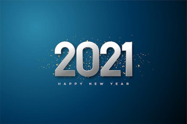 2021 gelukkig nieuwjaar achtergrond met metallic zilverkleurige cijfers.