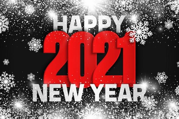 2021 gelukkig nieuwjaar achtergrond met sneeuw
