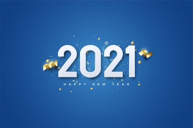 2021 gelukkig nieuwjaar achtergrond met zachte witte cijfers op een donkerblauwe achtergrond.