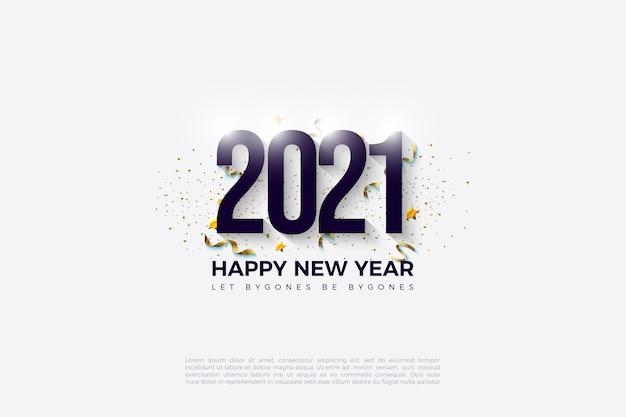 2021 gelukkig nieuwjaar achtergrond met zwarte cijfers en gouden vlekken