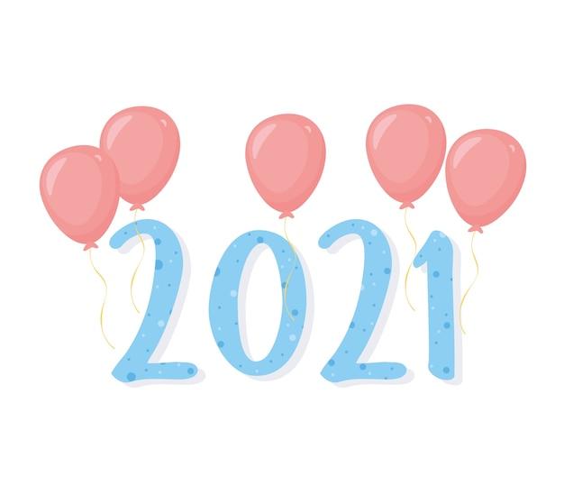 2021 gelukkig nieuwjaar, ballonnen decoratie blauwe cijfers kaart illustratie