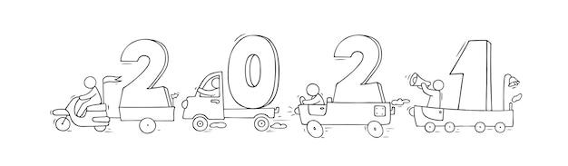 2021 gelukkig nieuwjaar concept met auto's. cartoon doodle illustratie met traagjes mensen bereiden zich voor op feest. hand getekend voor kerst ontwerp.