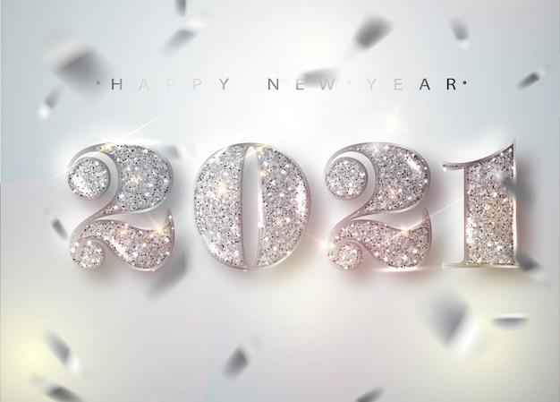 2021 gelukkig nieuwjaar. diamanten nummers en vallende glanzende confetti.