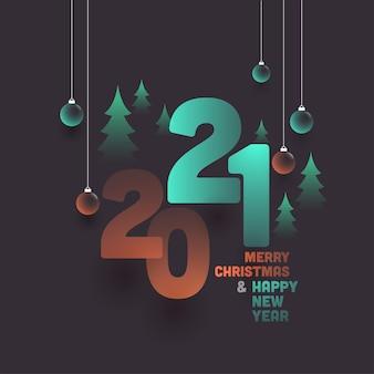2021 gelukkig nieuwjaar en merry christmas-tekst