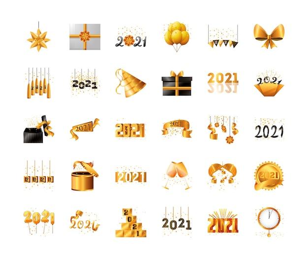 2021 gelukkig nieuwjaar gedetailleerde stijl 30 pictogrammenset ontwerp, welkom vieren en begroeten
