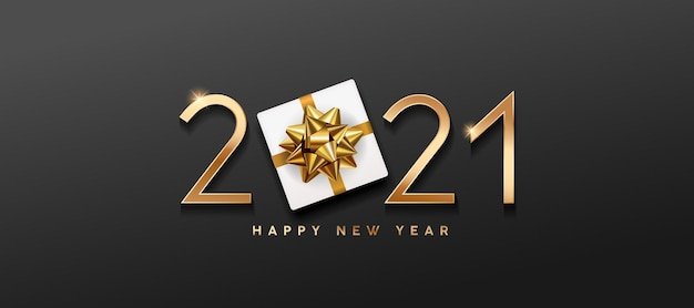 2021 gelukkig nieuwjaar, geschenkdoos en gouden striklinten