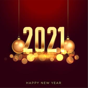 2021 gelukkig nieuwjaar gouden achtergrond met kerstballen