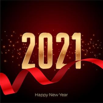 2021 gelukkig nieuwjaar gouden achtergrond met lint