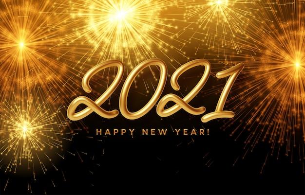2021 gelukkig nieuwjaar gouden glanzende inscriptie op de achtergrond met helder brandend vuurwerk.