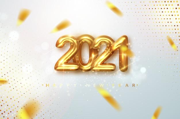 2021 gelukkig nieuwjaar. gouden ontwerp metalen nummers datum 2021 van wenskaart. gelukkig nieuwjaar banner met 2021 nummers op lichte achtergrond.