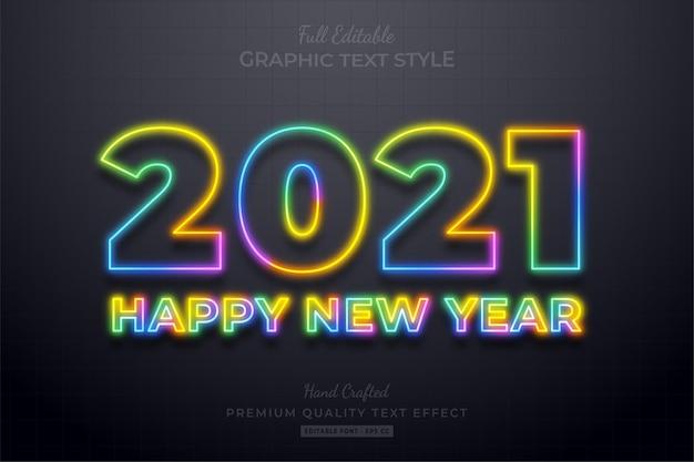 2021 gelukkig nieuwjaar kleurrijke neon bewerkbare teksteffect lettertypestijl