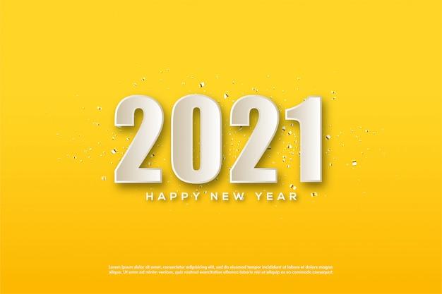 2021 gelukkig nieuwjaar met 3d-witte cijfers op gele achtergrond
