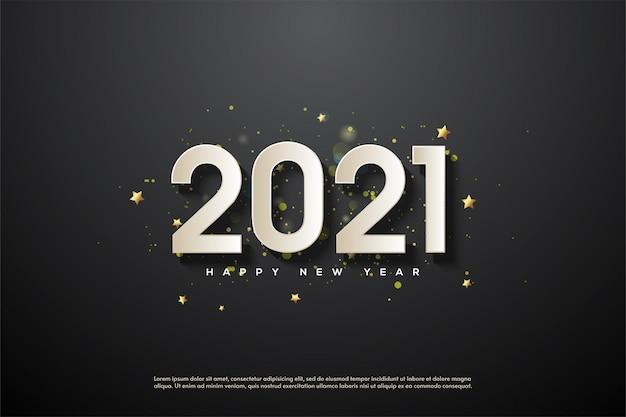 2021 gelukkig nieuwjaar met 3d-witte cijfers op zwarte achtergrond