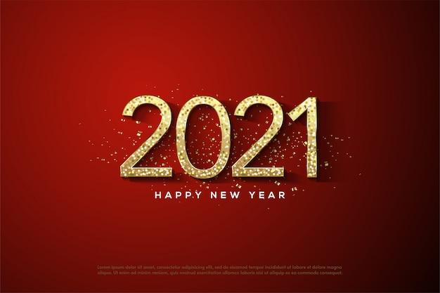 2021 gelukkig nieuwjaar met gouden cijfers met gouden glitters
