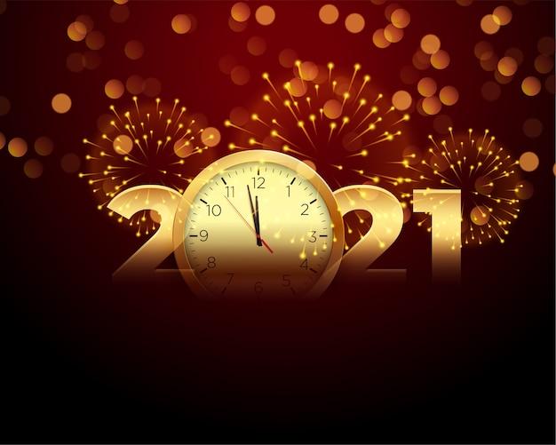 2021 gelukkig nieuwjaar met klok en vuurwerk achtergrond