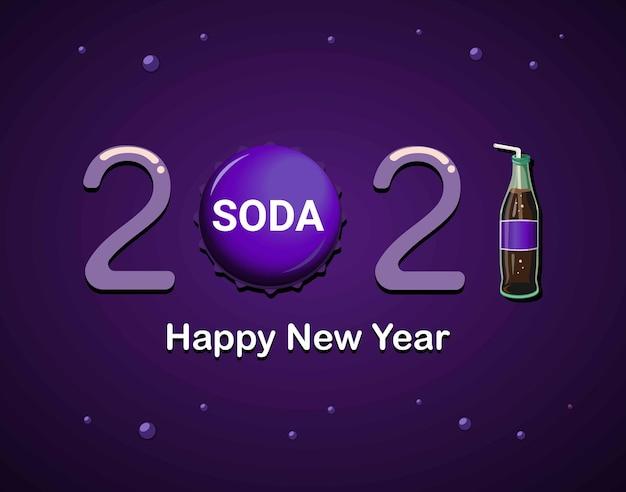 2021 gelukkig nieuwjaar met paarse frisdrankfles en doppen thema concept illustratie vector
