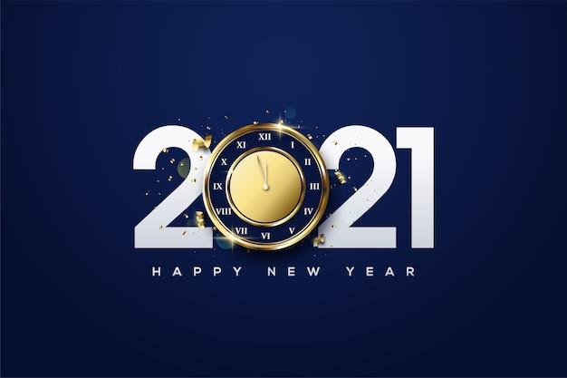 2021 gelukkig nieuwjaar met witte cijfers en gouden uren.