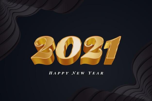 2021 gelukkig nieuwjaar spandoek of poster met 3d-gouden cijfers op zwarte achtergrond
