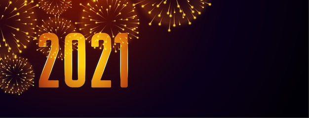 2021 gelukkig nieuwjaar vuurwerk banner met tekst ruimte Gratis Vector