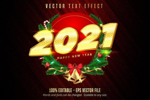 2021 gelukkig nieuwjaarstekst, glanzend goud bewerkbaar teksteffect in kerststijl