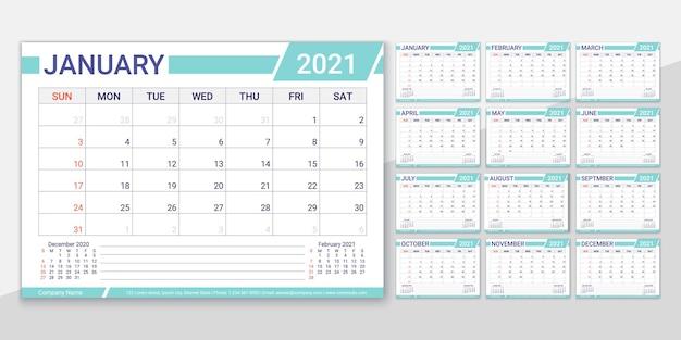 2021 jaar kalender. planner sjabloon. vector illustratie. maandelijkse agenda-indeling.