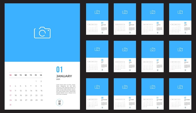 2021 kalender - illustratie. sjabloon. de mock-upweek begint zondag