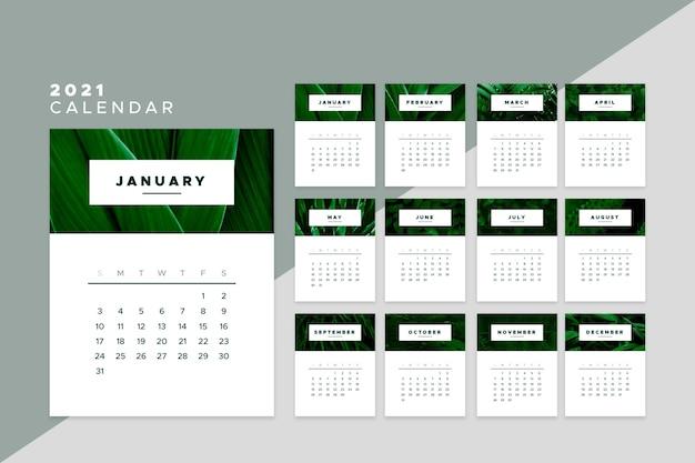 2021 kalender sjabloonontwerp