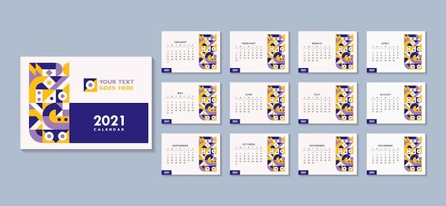 2021 kalendersjabloon op abstract geometrisch minimaal thema