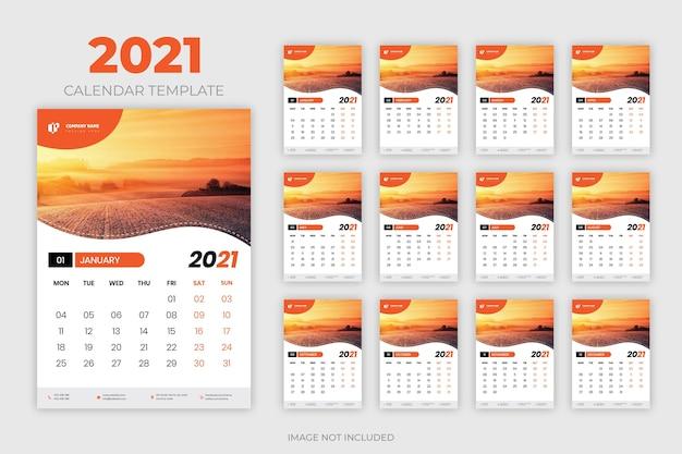 2021 muur kalendersjabloon