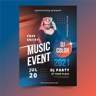 2021 muziekevenementposter met foto