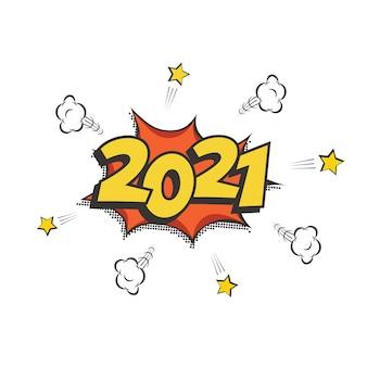 2021 new year comic book-stijl briefkaart of wenskaartelement, wintervakantie retro design. Premium Vector