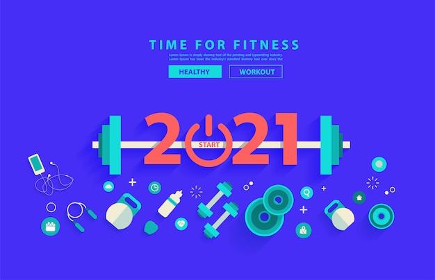 2021 nieuwjaar fitness concept training typografie alfabet ontwerp met apparatuur.