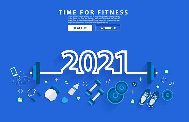 2021 nieuwjaar fitness concept training typografie alfabet ontwerp met apparatuur