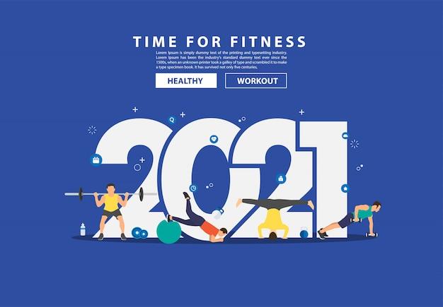 2021 nieuwjaar fitness ideeën concept man training fitnessapparatuur met platte grote letters.