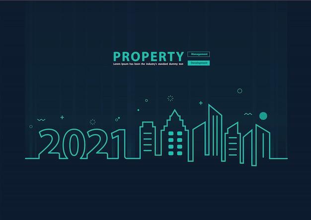 2021 nieuwjaar skyline lijntekeningen creatief ontwerp