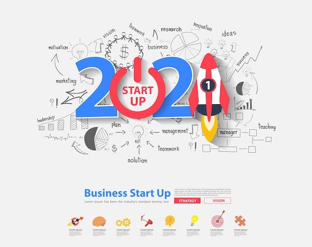 2021 nieuwjaars opstarten ideeën conceptontwerp met creatief denken tekenen van grafieken en grafieken