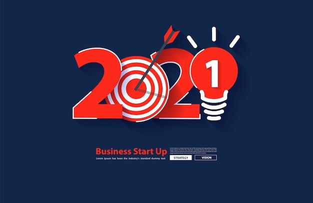 2021 nieuwjaarsopstartbedrijf raketlancering met creatieve gloeilampideeën, vector