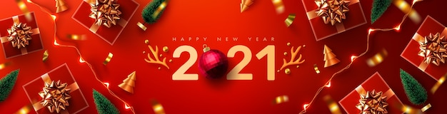 2021 nieuwjaarspromotieposter of banner met rode geschenkdoos, kerstelement en led-lichtslingers