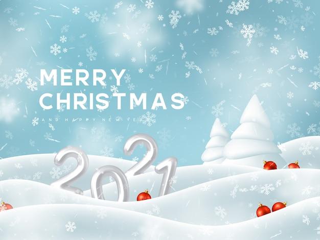 2021 nieuwjaarsteken. 3d-metallic nummers, vallende sneeuwvlokken met sneeuwlaag, dennenboom en decoratieve rode ballen. winter besneeuwde en kerstmis achtergrond.
