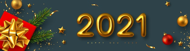 2021 nieuwjaarsteken. realistische geschenkdoos met decoratieve elementen en 3d-metalen cijfers op donkere achtergrond.