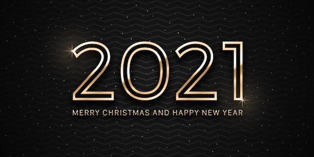 2021 prettige kerstdagen en gelukkig nieuwjaar gouden metalen tekstachtergrond