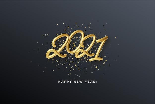 2021 realistische gouden metallic inscriptie op een zwarte achtergrond met gouden glitter schittert.