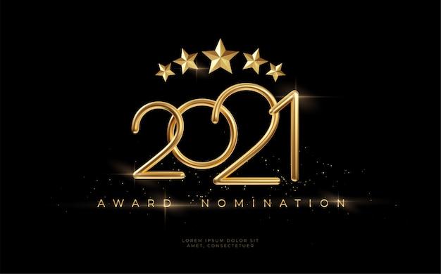 2021 uitreiking van de nominatieceremonie luxe zwart golvend