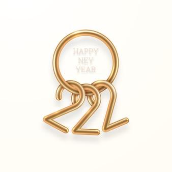 2022 3d-realistische gouden cijfers met gelukkige nieuwjaarsgroeten