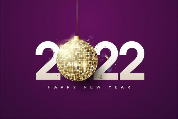 2022 achtergrond met discolichten op donkerpaarse achtergrond
