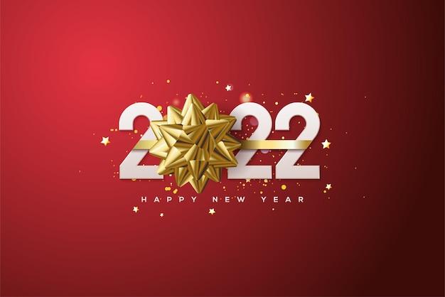 2022 achtergrond met witte cijfers en 3d gouden lint